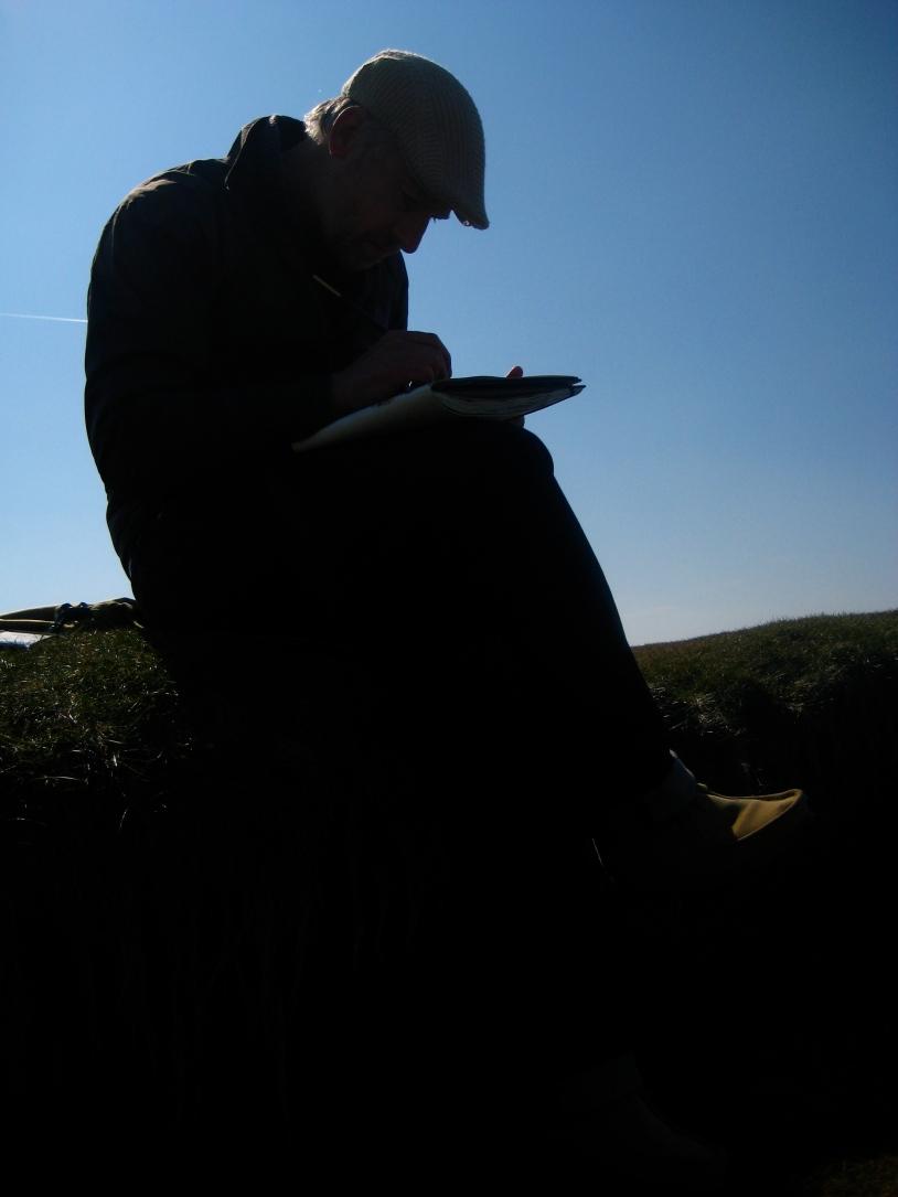 Morecombe Bay sketching. Terrible posture
