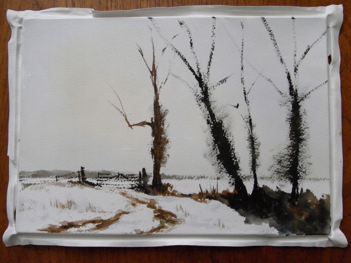 My effort, after, and with apologies to, Edward Seago's 'Norfolk Fields in Winter'