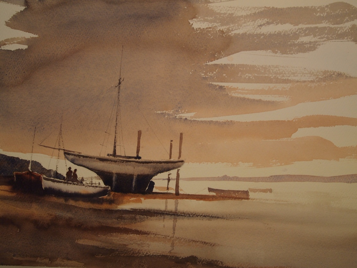 Painted on a half imperial sheet of Bockingford Extra Rough using Shin Han watercolours