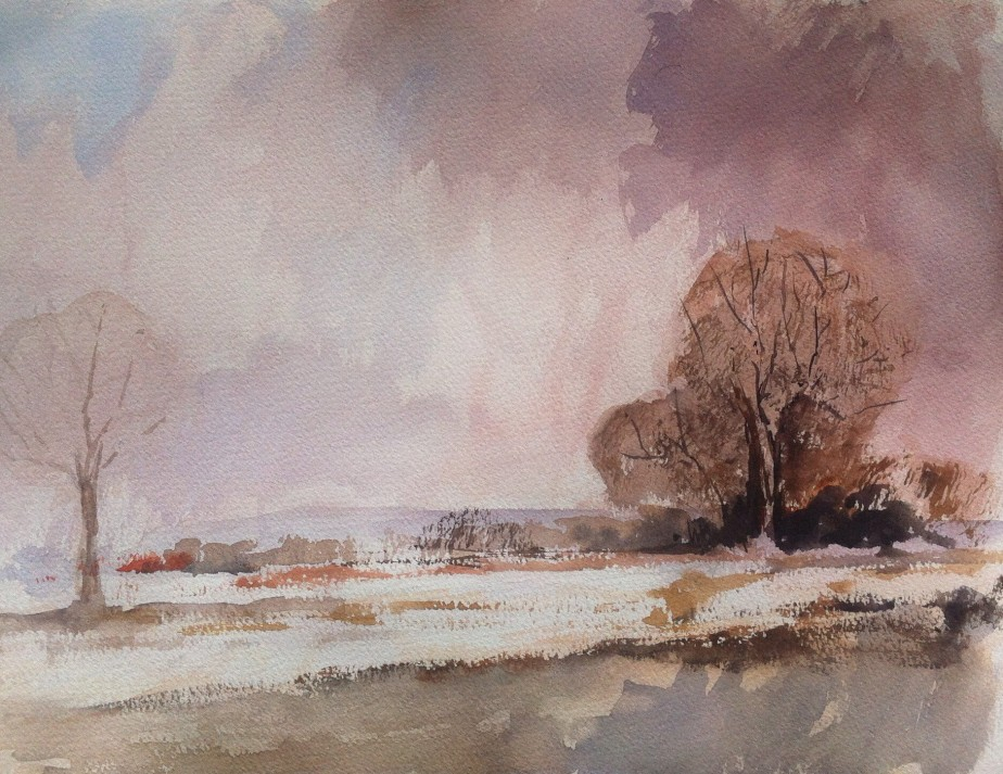 Painted on a quarter imperial sheet of cream/oatmeal tinted Bockingford Rough using a Winsor & Newton Artists Watercolour Field Set and Cotman watercolours