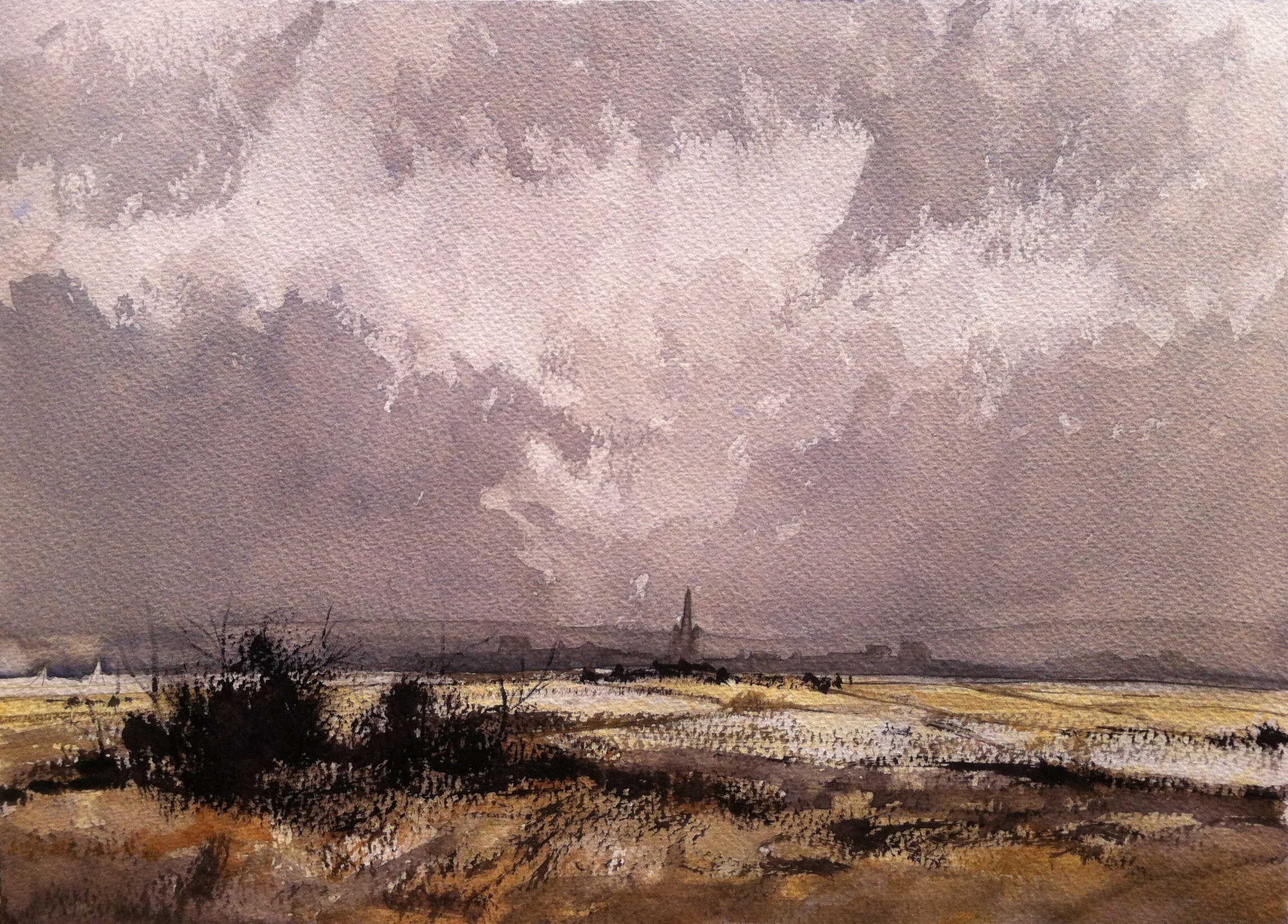 Roland Hilder study using Winsor and Newton Professional paints. Painted on Bockingford 140gsm rough paper with oatmeal tint,