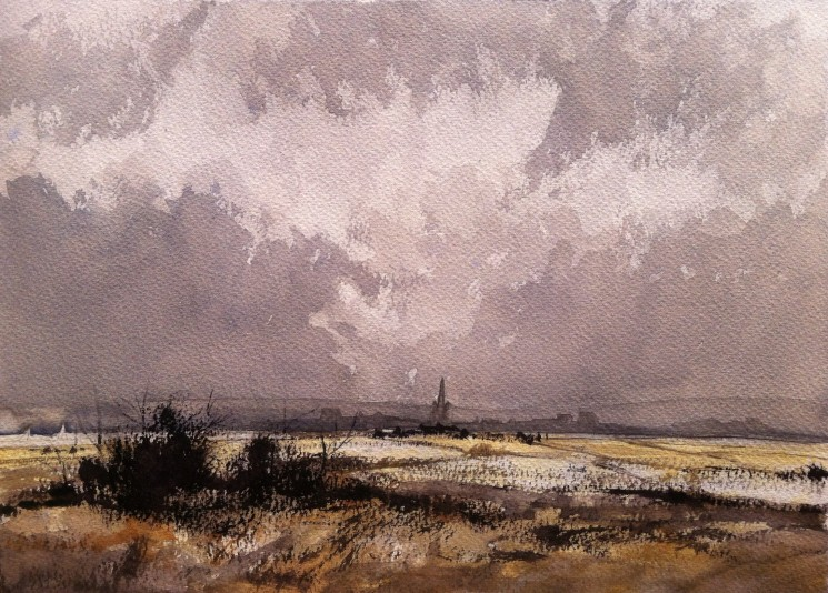 Rowland Hilder study using Winsor and Newton Professional paints. Painted on Bockingford 140gsm rough paper with oatmeal tint,