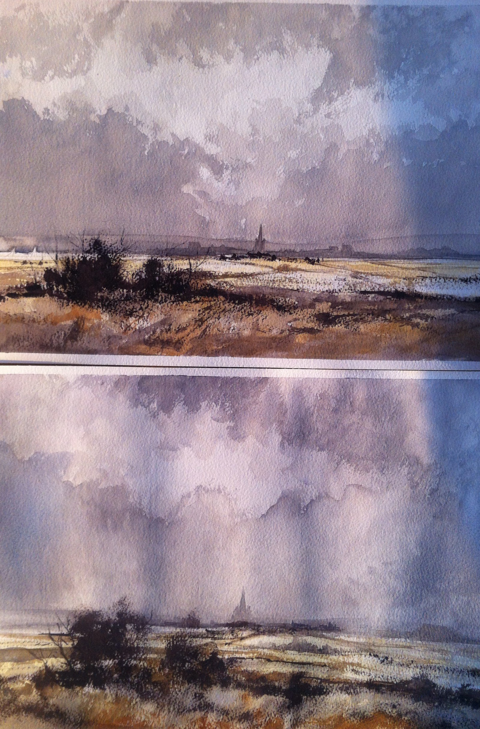 Rowland Hilder studies: #2 painted using Winsor and Newton professional watercolours, #1 using Winsor and Newton Cotman watercolours