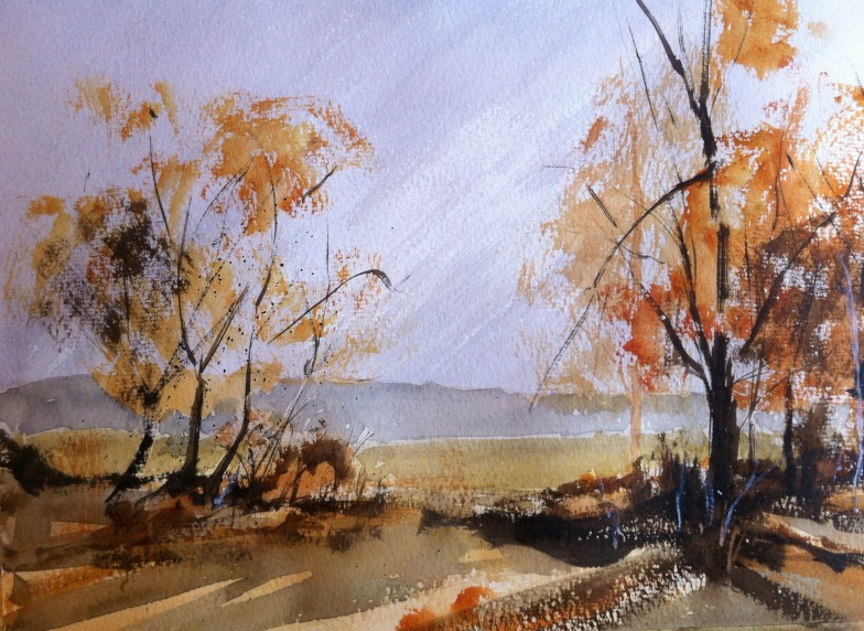 Autumnal Scene after Rowland Hilder. Painted on quarter sheet bockingford 190gsm white, extra rough