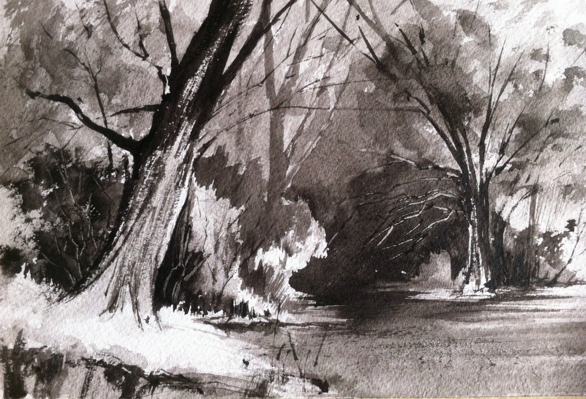 Tonal landscape study using only Lamp Black