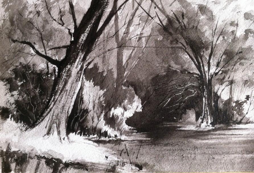 Tonal landscape study using only Lamp Black