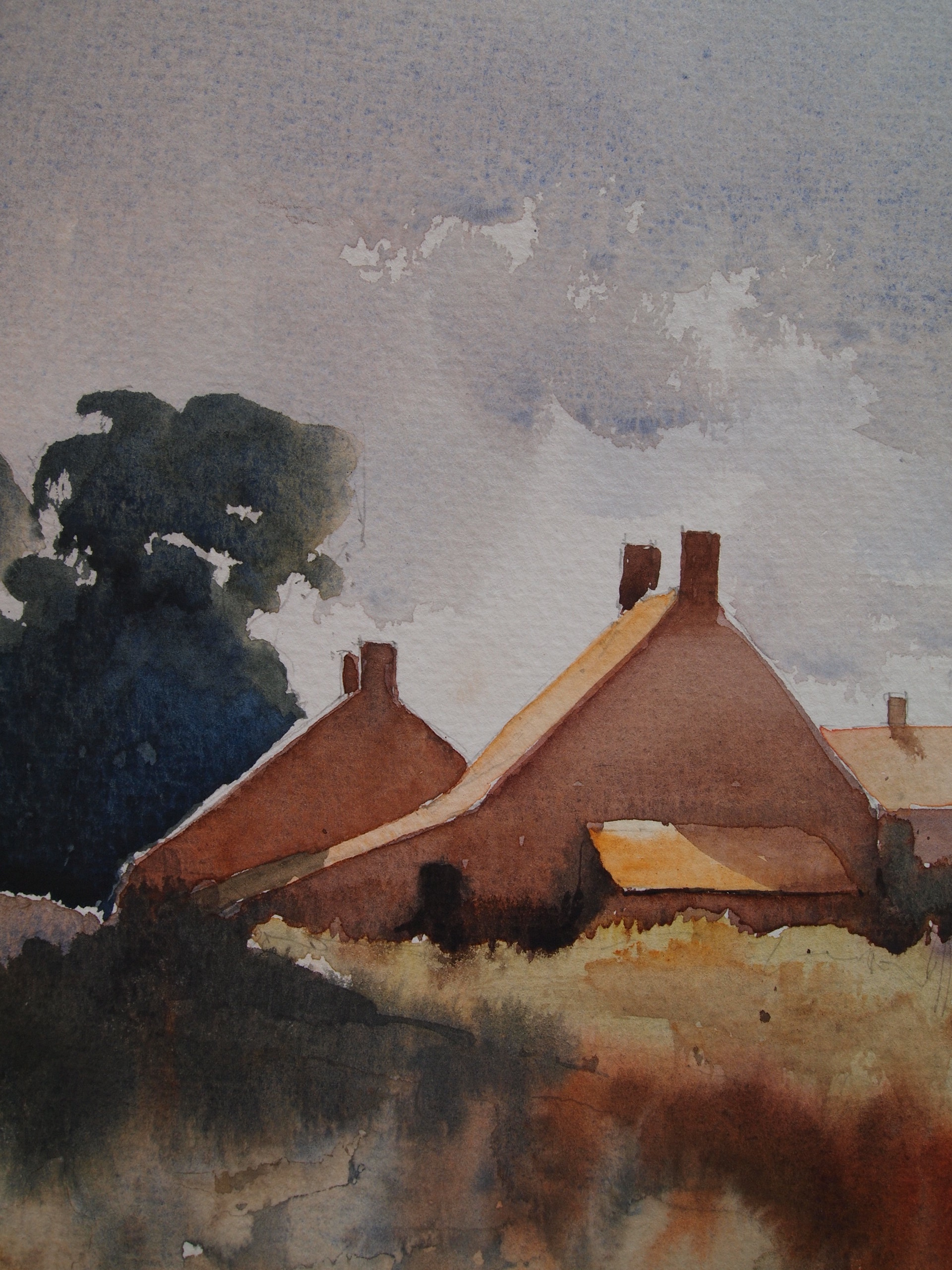Edward Seago study (detail) - 'Norfolk Cottages'
