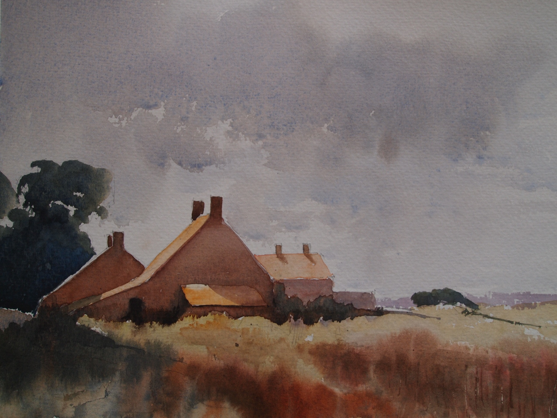 Edward Seago study based on 'Norfolk Cottages' - painted on quarter imperial Bockingford rough