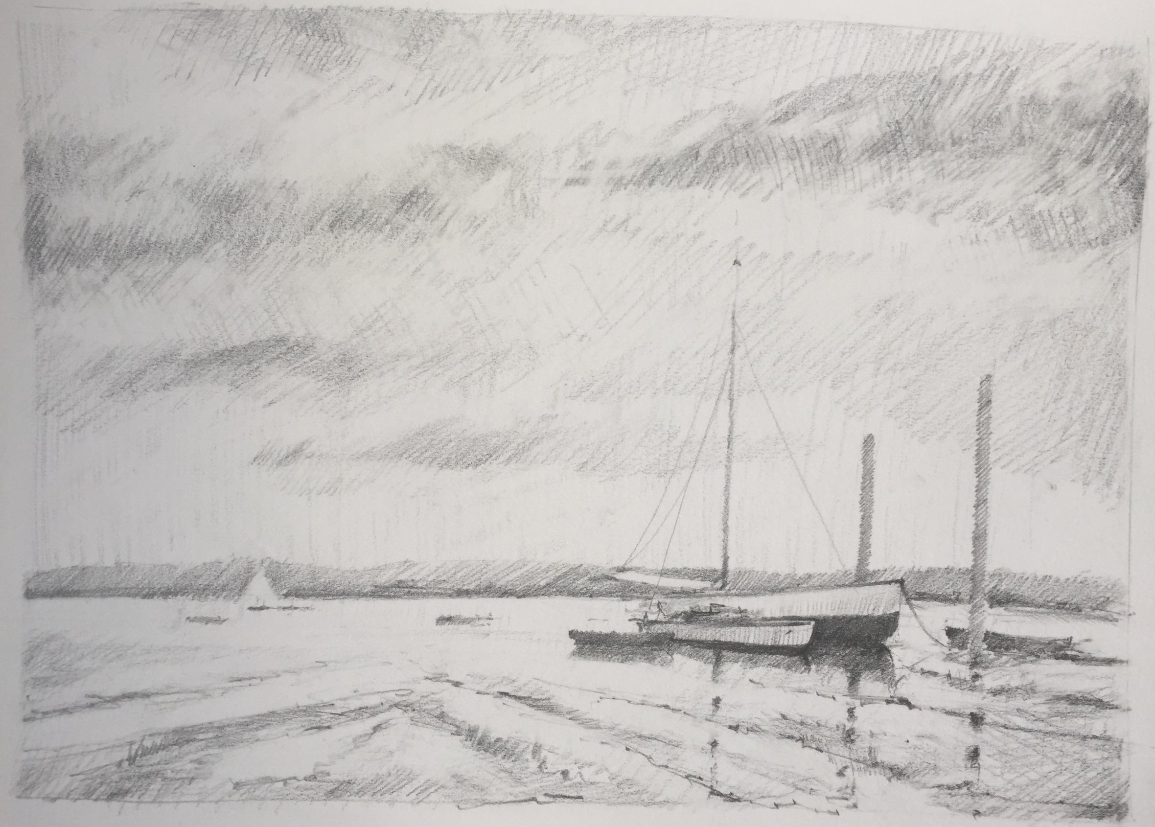 Pencil sketch based on Edward Seago's oil painting, 'End of the Hard, Pin Mill'