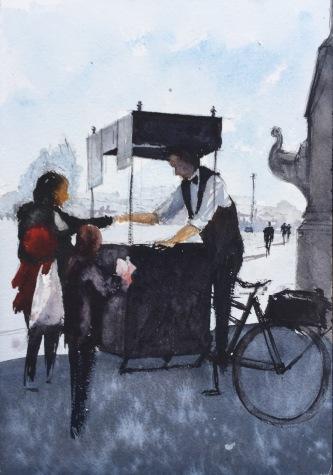 Sketch of a crepe seller on Pont Alexandre III Bridge in Paris