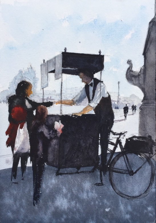 Sketch of a crepe seller on Pont Alexandre III Bridge in Paris