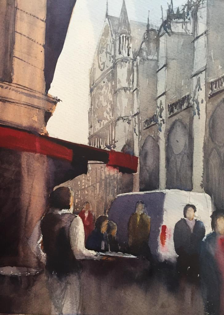 Sketch of Cafe Aux Tours, Notre-Dame, Paris
