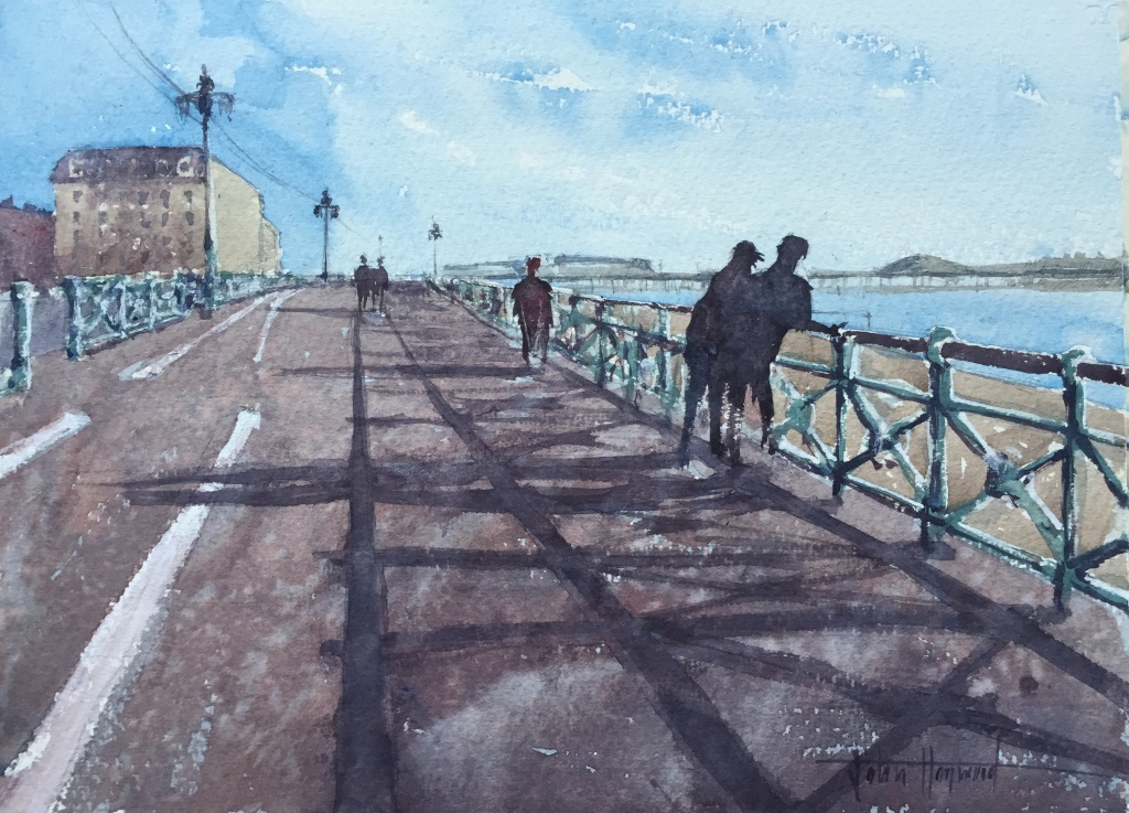 A watercolour painting of Brighton seafront looking west towards The Palace Pier by John Haywood