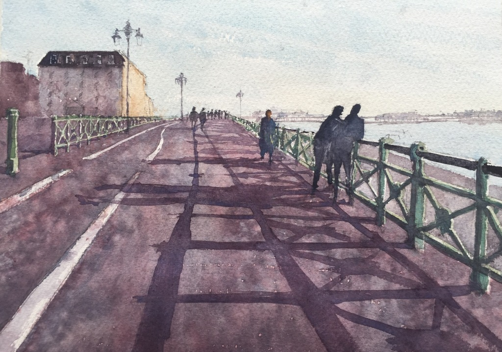 A watercolour of Brighton seafront looking west towards The Palace Pier by John Haywood