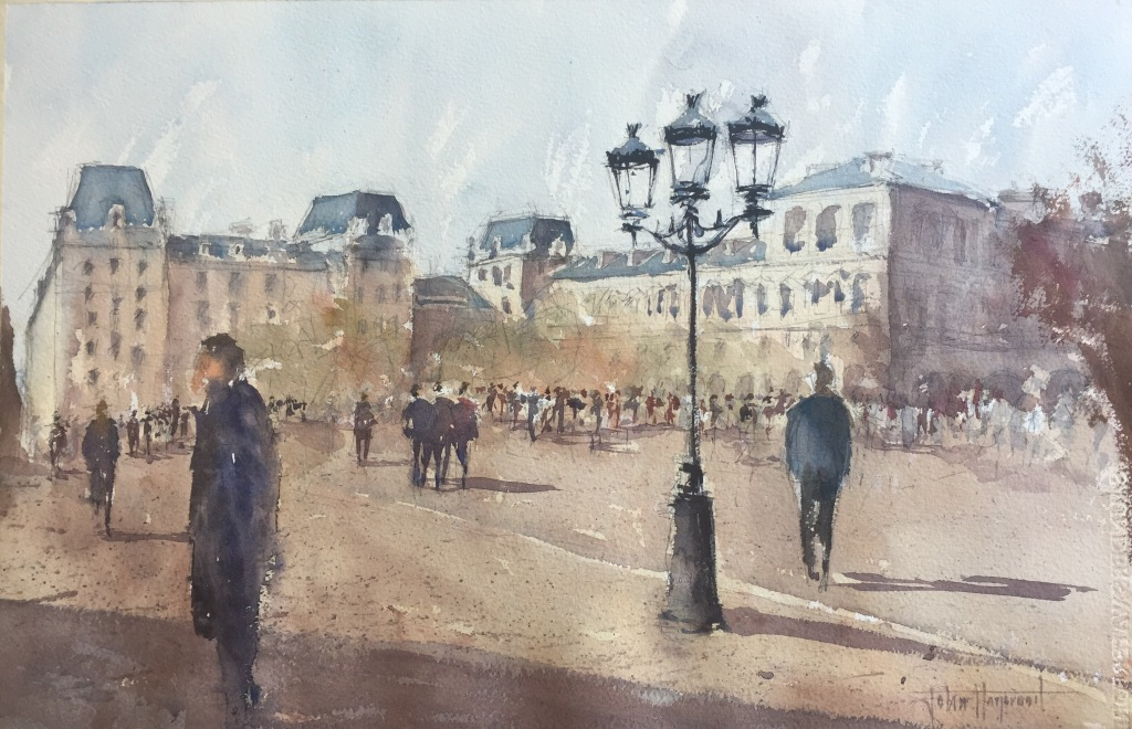 Watercolour painting of Hotel De Ville from near Notre-Dame by John Haywood