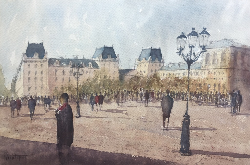 Watercolour painting of the Hotel De Ville from near Notre-Dame by John Haywood