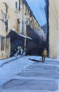 A watercolour sketch of a street scene in Barcelona by John Haywood