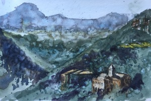 A plein air watercolor sketch nr Barcelona by John Haywood