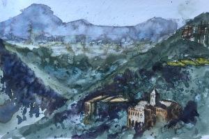 A plein air watercolor sketch nr Barcelona by John Haywood