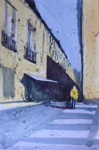 A watercolor sketch of a Barcelona street scene by John Haywood