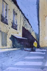 A watercolor sketch of a Barcelona street scene by John Haywood