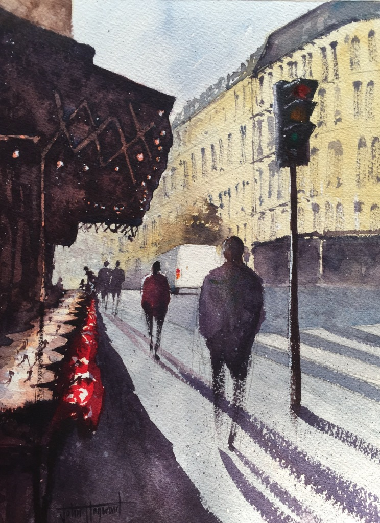 A watercolour painting by John Haywood of a cafe street scene in Paris