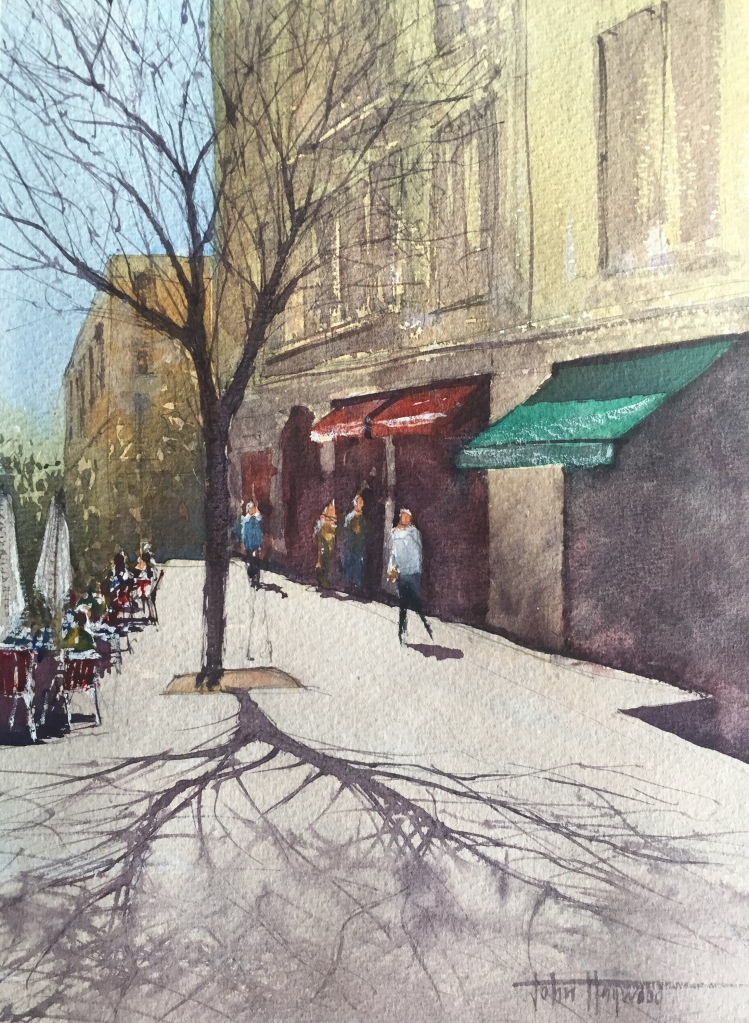 A watercolour painting of a Barcelona street scene by John Haywood