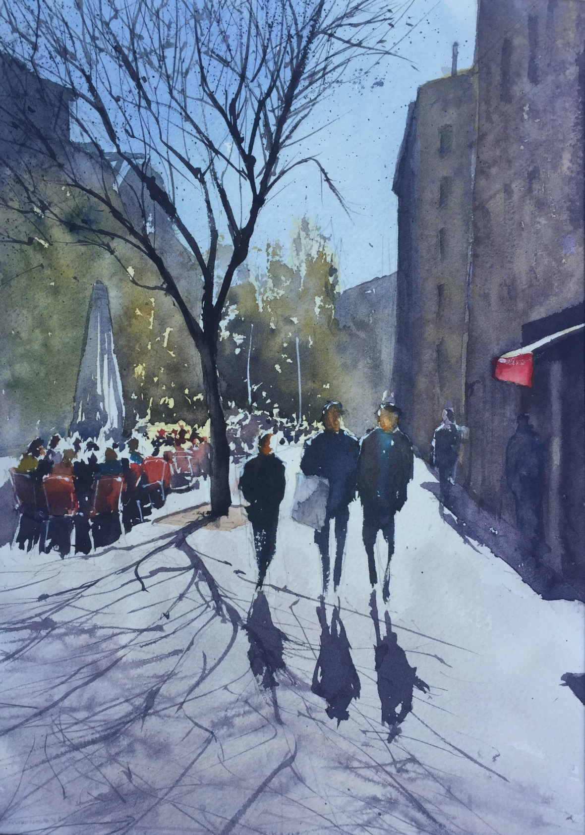 A watercolour painting by John Haywood of a street scene in Barcelona