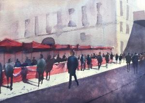 Watercolour of a street market in Barcelona