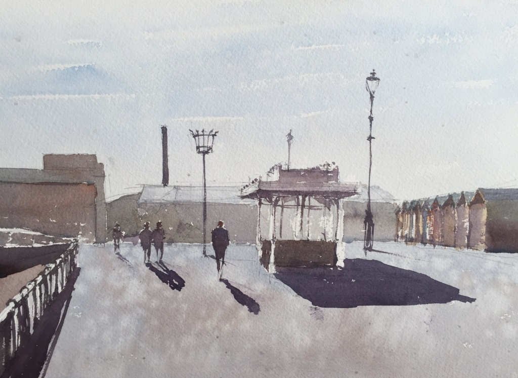 A plein-air watercolour study of Hove seafront by John Haywood