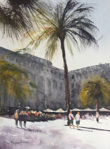 A watercolour painting of the Placa Reial, Barcelona by John Haywood