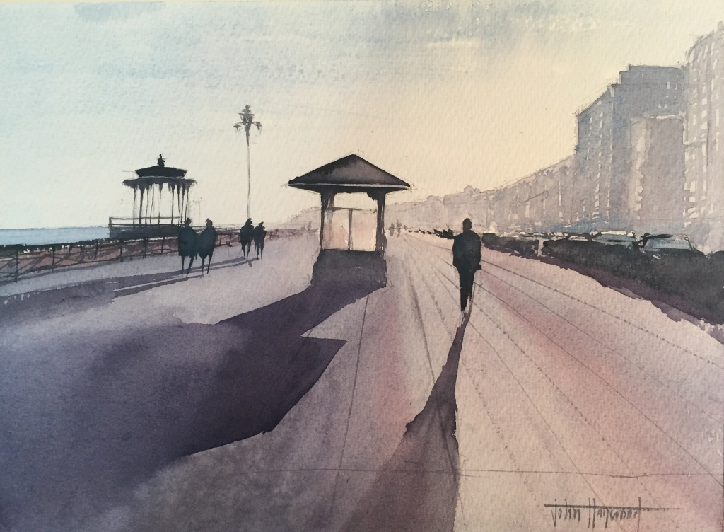 A watercolour painting of Brighton seafront at sundown by John Haywood