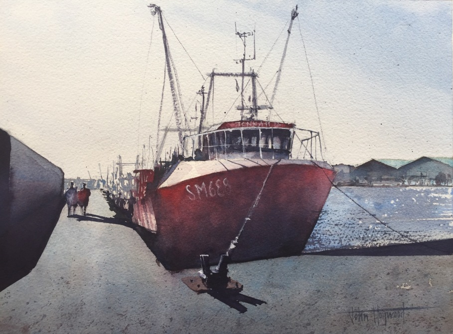 Watercolour painting of boat SM688 in Shoreham harbour by John Haywood
