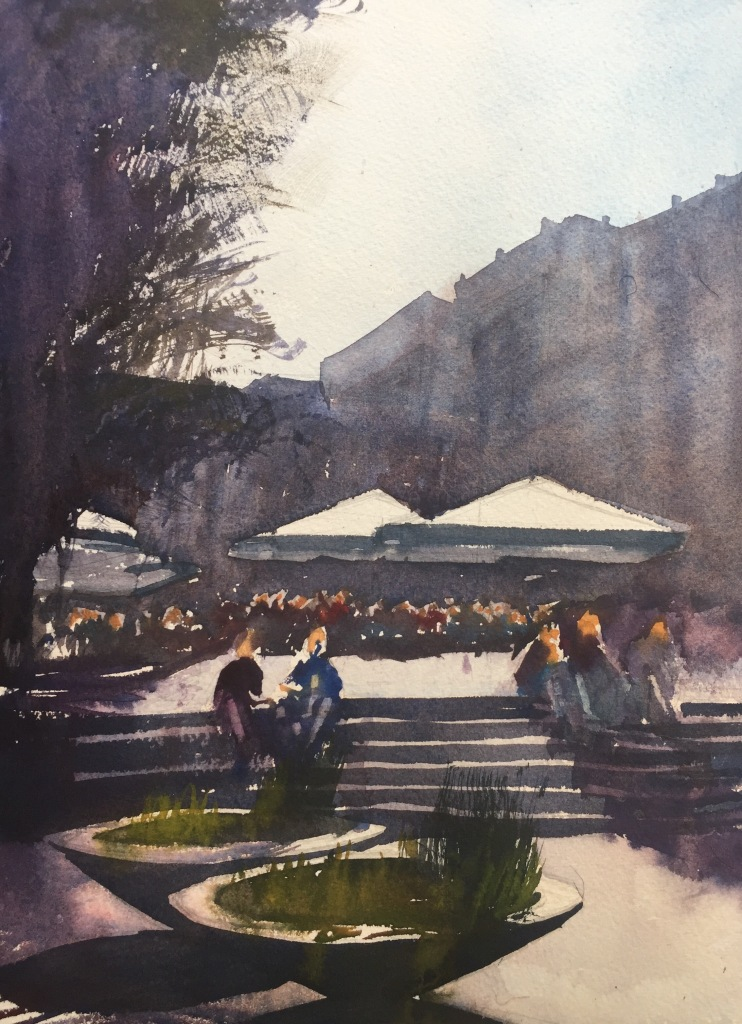 A watercolour painting of a square in Barcelona by John Haywood
