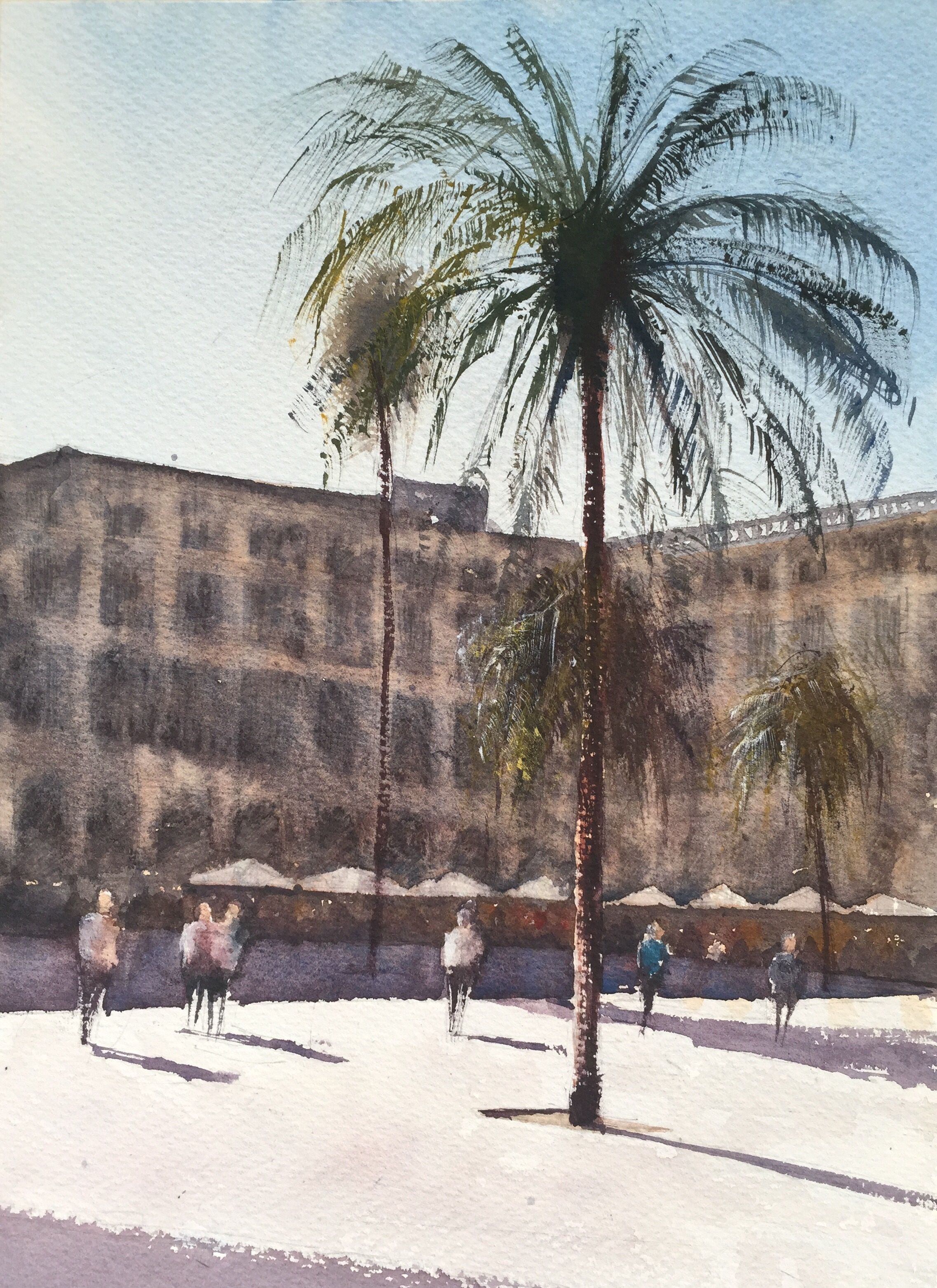 A watercolour painting of Placa Reial, Barcelona