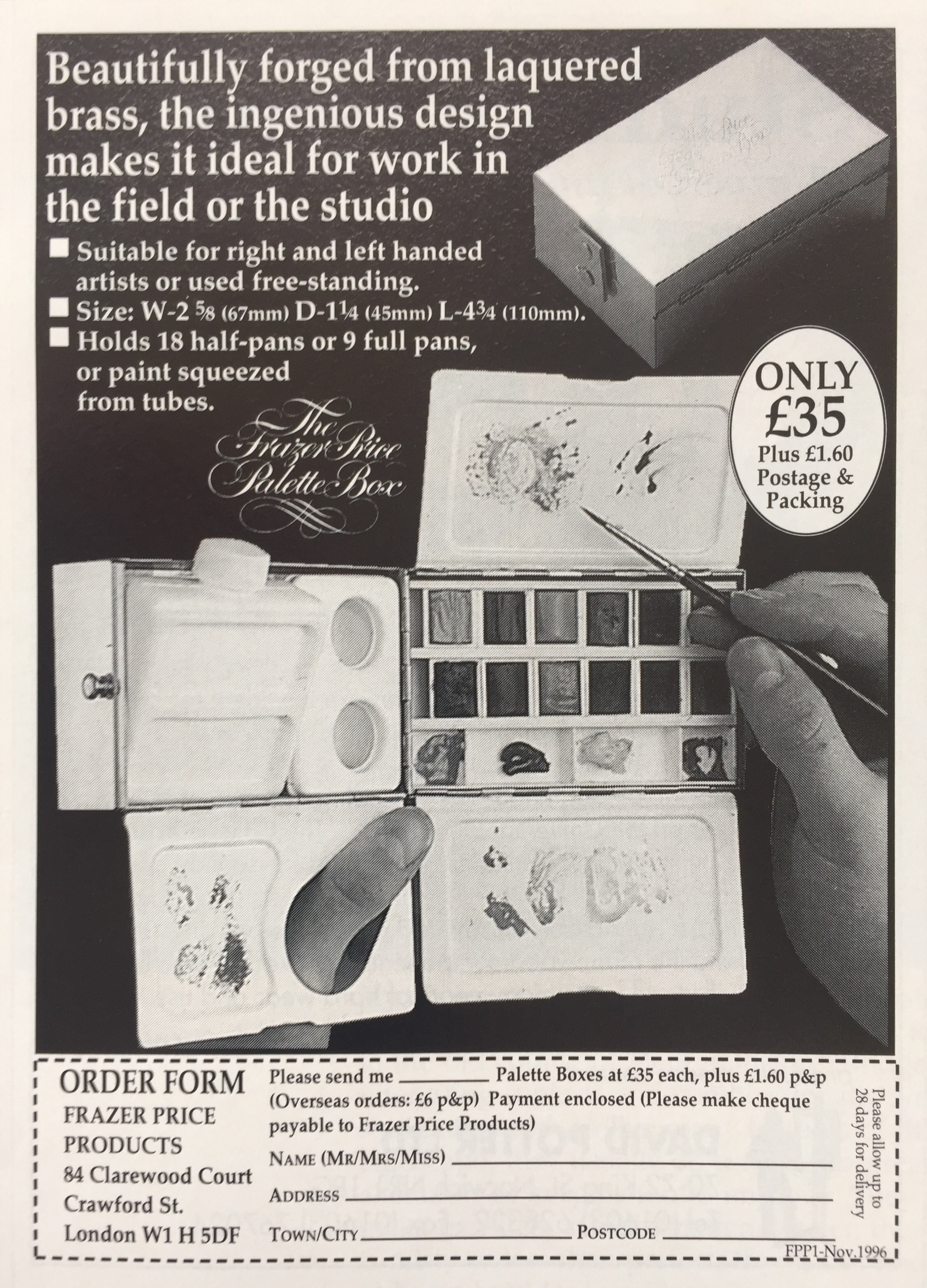 Original 1996 advert for the Frazer Price Palette Box