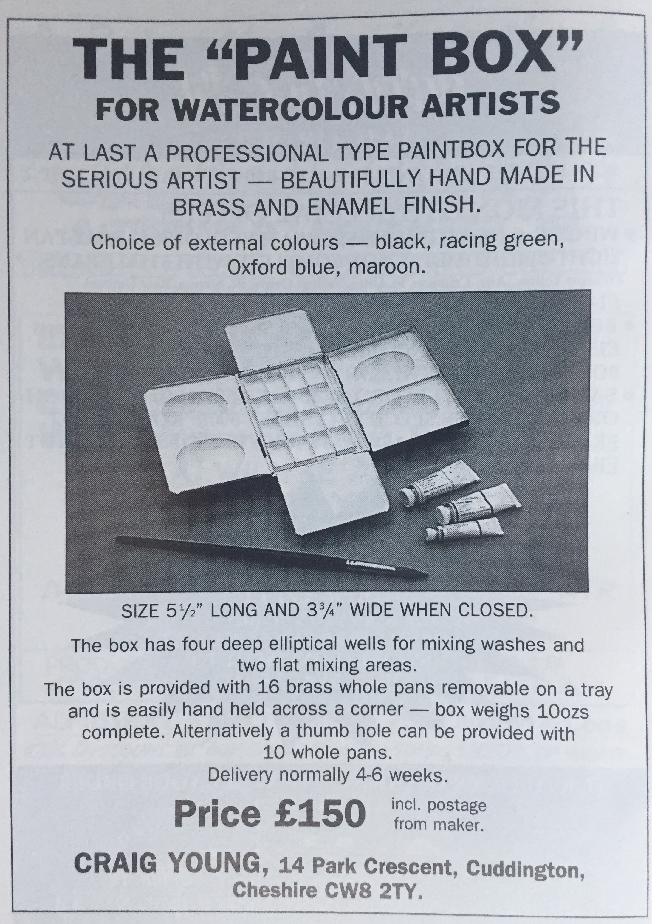 Original 1996 advert for the Craig Young Paint Box