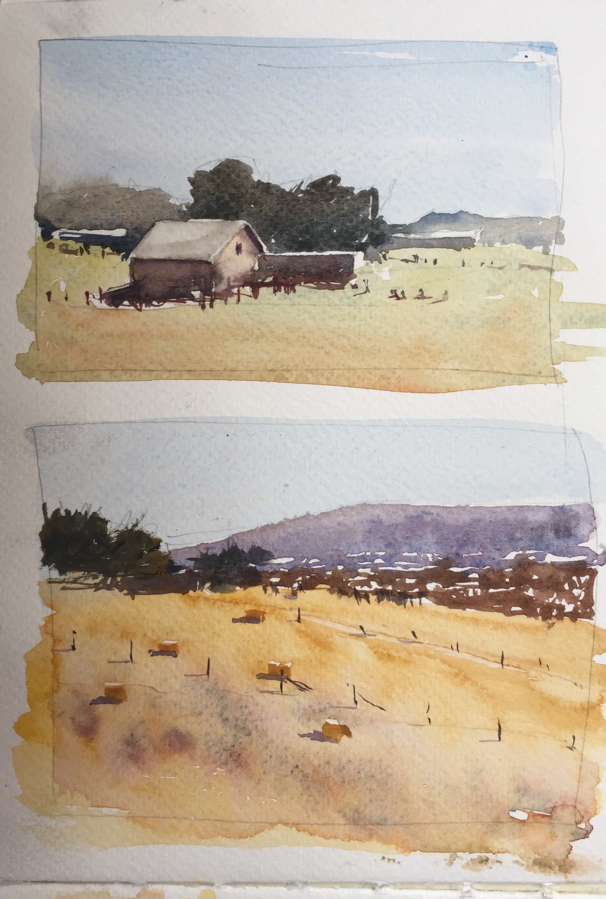 Watercolour sketches by John Haywood based on originals by Joseph Zbukvic
