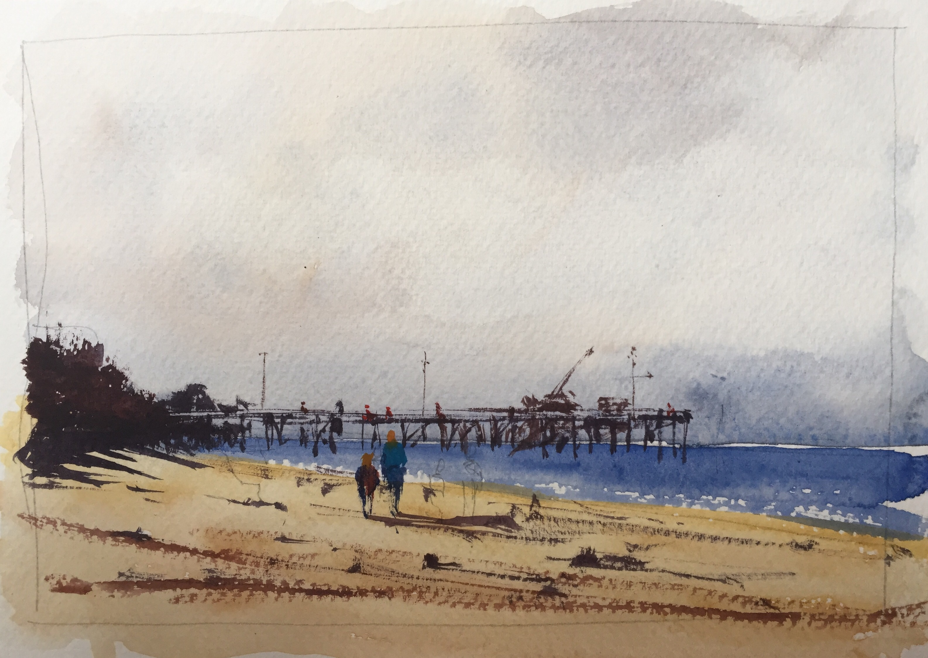 Watercolour sketch by John Haywood based on a Joseph Zbukvic original