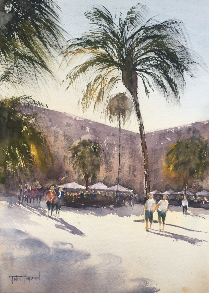 A watercolour painting of La Placa Reial, Barcelona by John Haywood