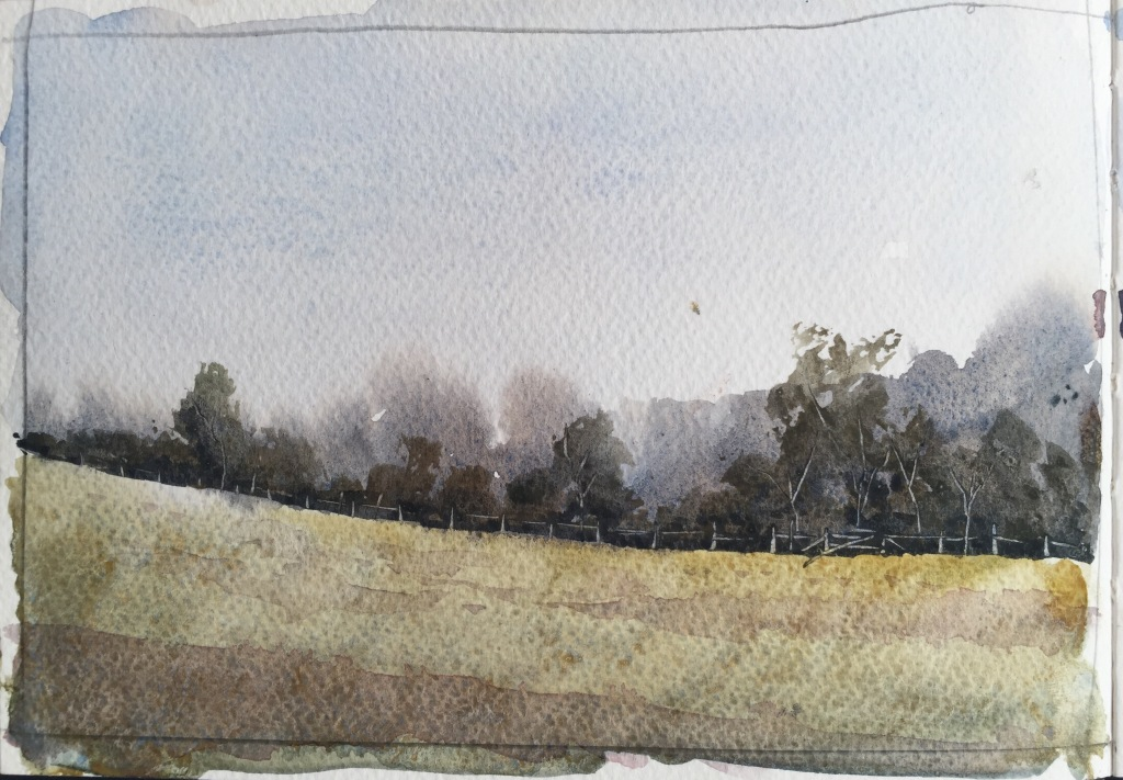 A6 watercolour landscape sketch by John Haywood