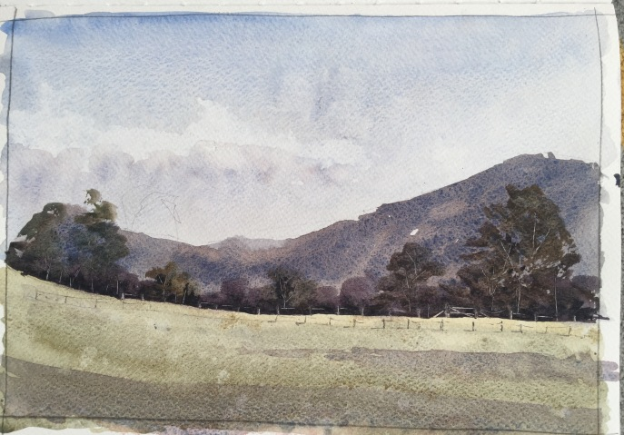 Watercolour sketch, Wales, by John Haywood