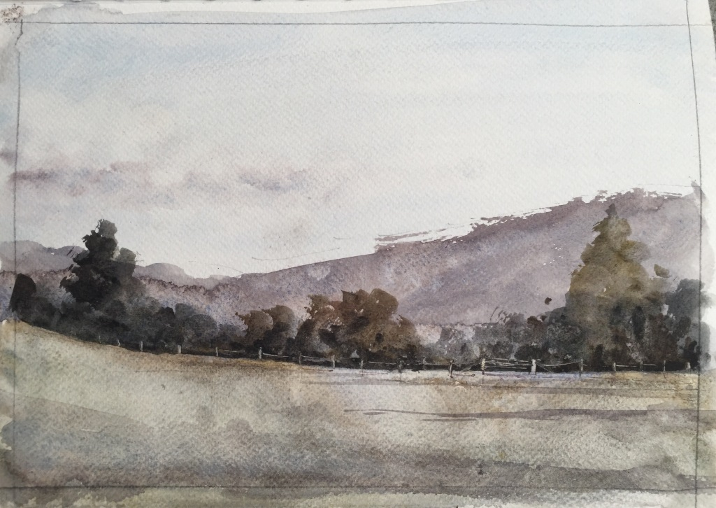 A4 watercolour landscape sketch by John Haywood