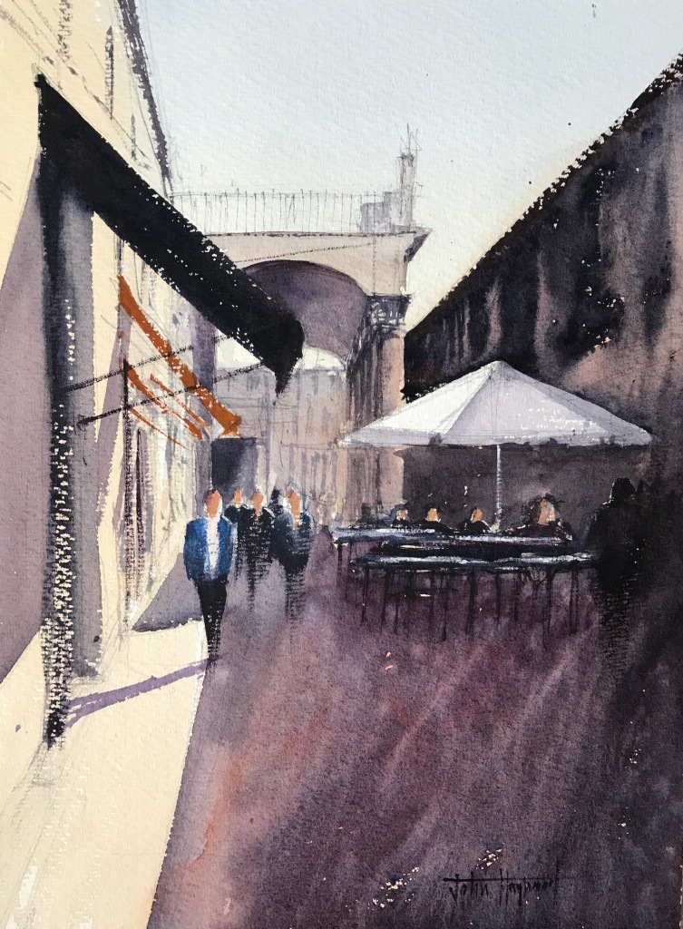 A watercolour painting of a sidestreet next to La Boqueria food market, Barcelona - by John Haywood