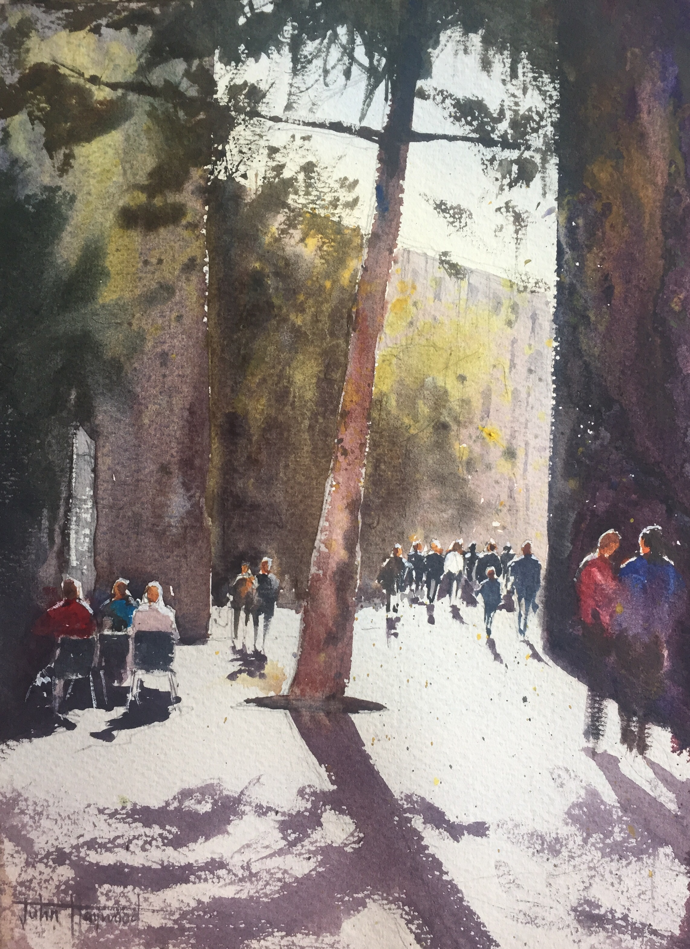 Watercolour painting of a Barcelona street scene by John Haywood