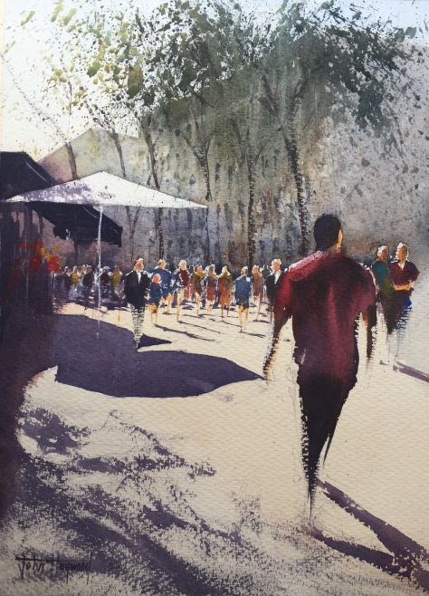 Watercolour painting of Las Ramblas, Barcelona, by John Haywood