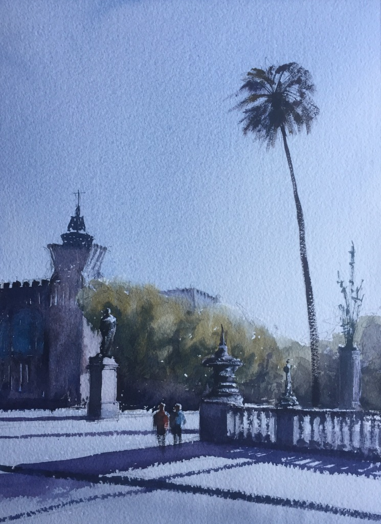 Watercolour painting, Near the Parc De La Ciutadella, Barcelona (take 1) by John Haywood