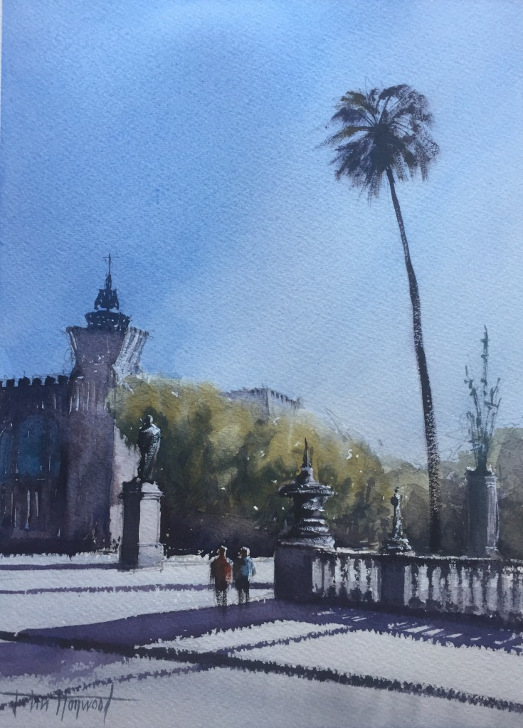 Watercolour painting, Near the Parc De La Ciutadella, Barcelona (take 1 - with more sky blue) by John Haywood