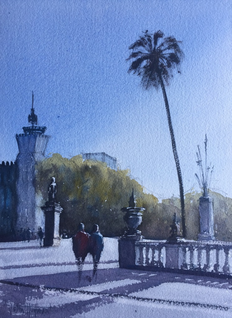 Watercolour painting, near the Parc De La Ciutadella, Barcelona by John Haywood