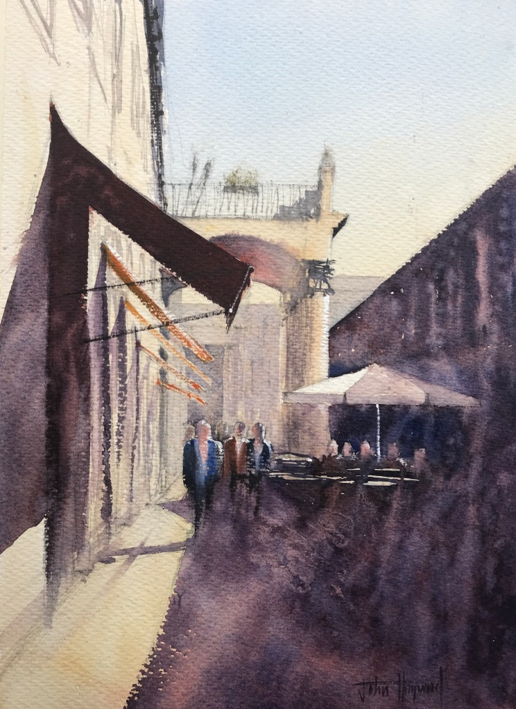 A watercolour painting of a Barcelona side street next to La Boqueria (version I) by John Haywood